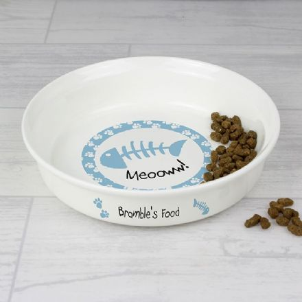 Personalised Cat bowl in Blue or Pink